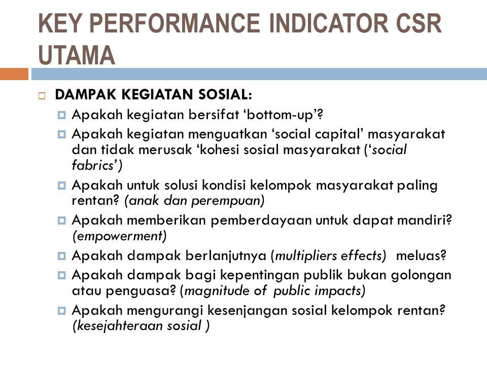 KEY PERFORMANCE INDICATOR CSR UTAMA  DAMPAK KEGIATAN SOSIAL:  Apakah kegiatan bersifat 'bottom-up'?  Apakah kegiatan menguatkan 'social capital' ma