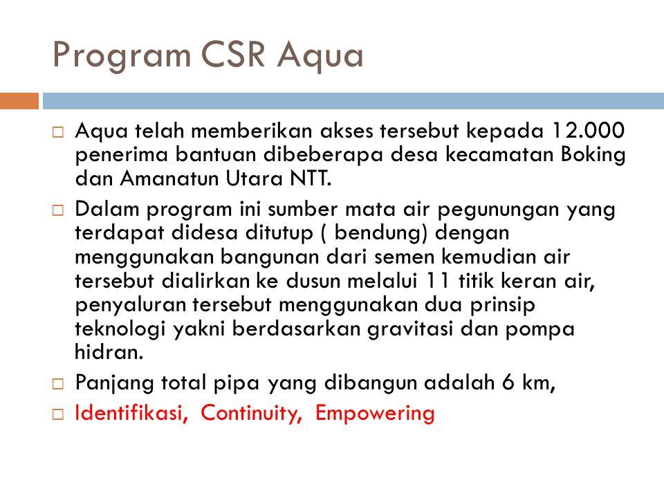 Program CSR Aqua  Aqua telah memberikan akses tersebut kepada 12.000 penerima bantuan dibeberapa desa kecamatan Boking dan Amanatun Utara NTT.  Dala