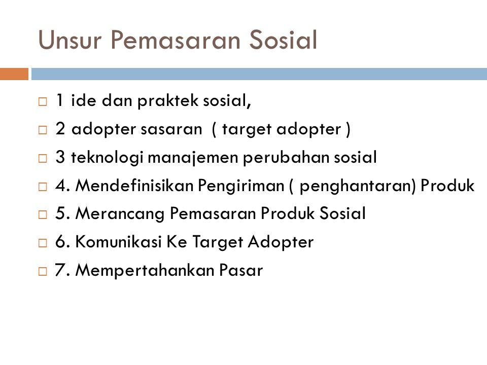 Unsur Pemasaran Sosial  1 ide dan praktek sosial,  2 adopter sasaran ( target adopter )  3 teknologi manajemen perubahan sosial  4. Mendefinisikan