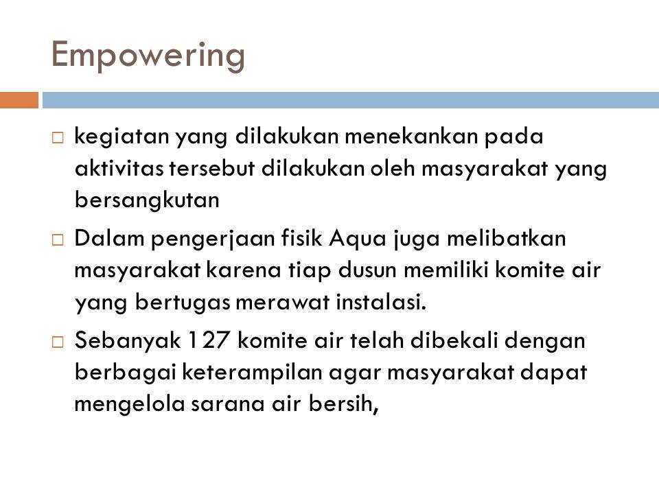 Empowering  kegiatan yang dilakukan menekankan pada aktivitas tersebut dilakukan oleh masyarakat yang bersangkutan  Dalam pengerjaan fisik Aqua juga