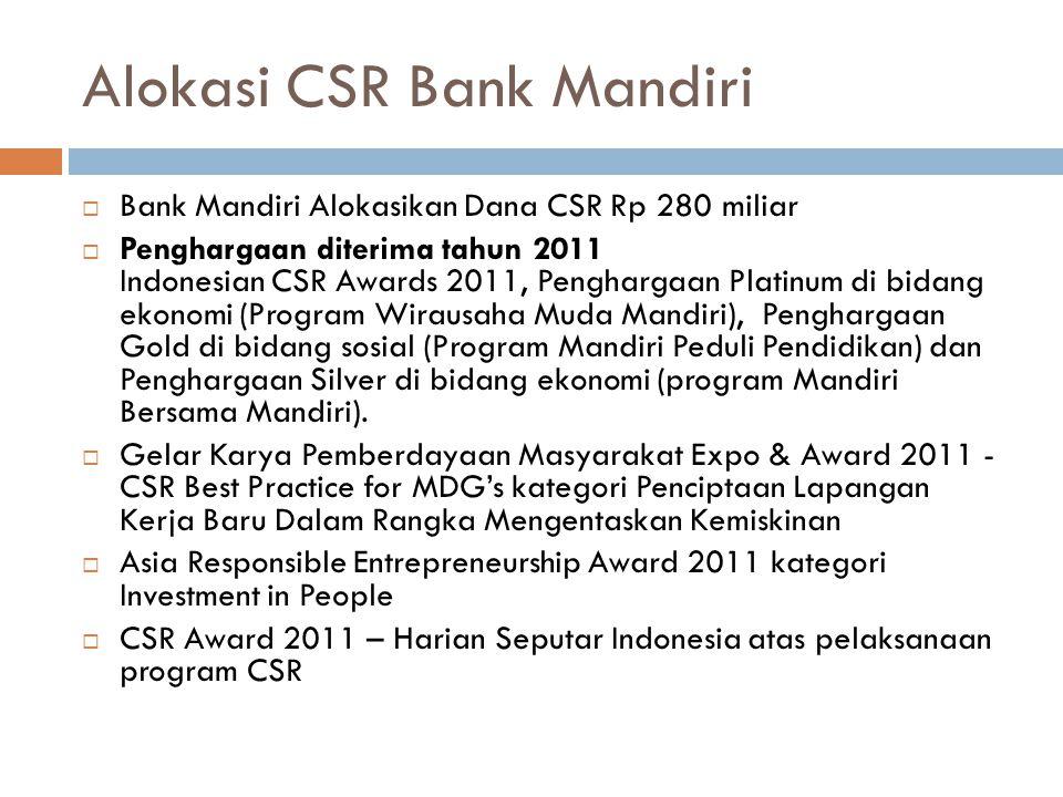 Alokasi CSR Bank Mandiri  Bank Mandiri Alokasikan Dana CSR Rp 280 miliar  Penghargaan diterima tahun 2011 Indonesian CSR Awards 2011, Penghargaan Pl