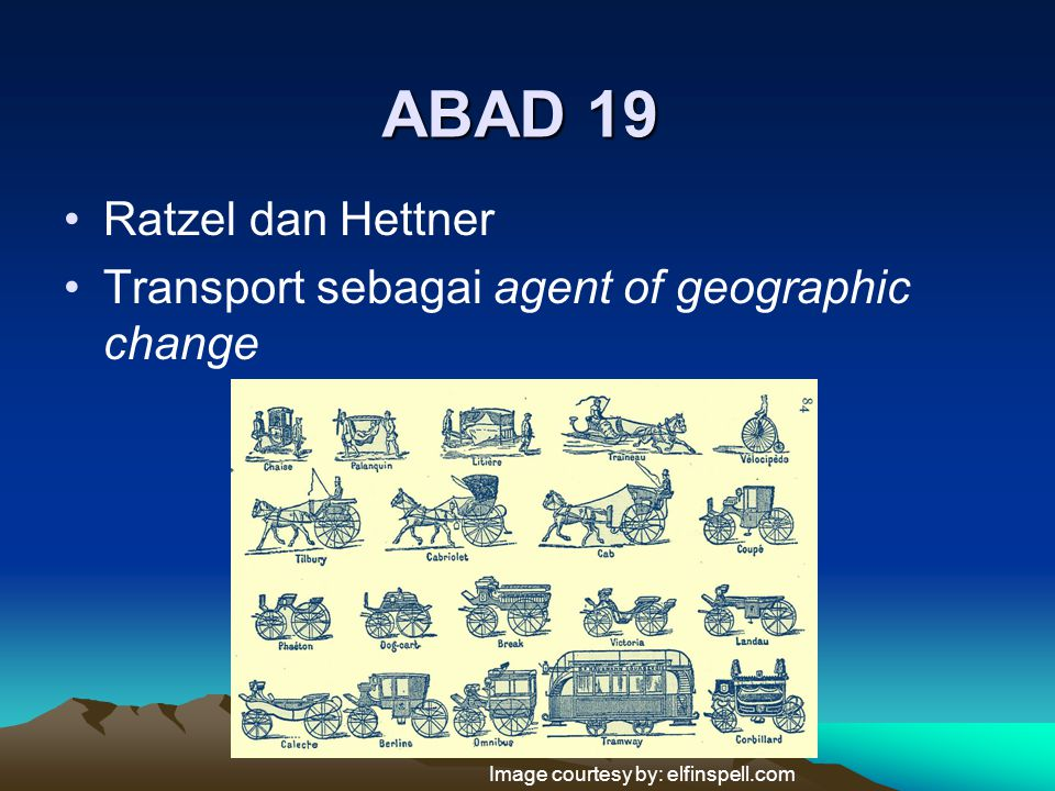 ABAD 19 Ratzel dan Hettner Transport sebagai agent of geographic change Image courtesy by: elfinspell.com