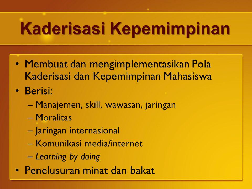 Kaderisasi Kepemimpinan Membuat dan mengimplementasikan Pola Kaderisasi dan Kepemimpinan Mahasiswa Berisi: –Manajemen, skill, wawasan, jaringan –Moral