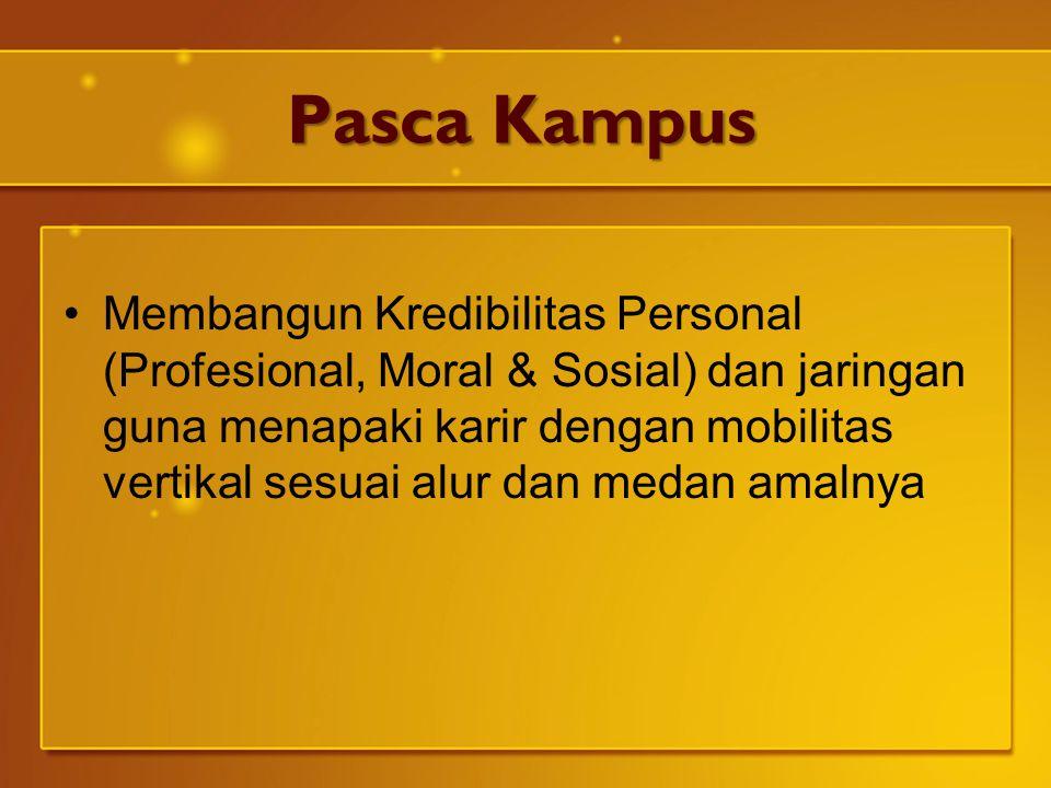 Pasca Kampus Membangun Kredibilitas Personal (Profesional, Moral & Sosial) dan jaringan guna menapaki karir dengan mobilitas vertikal sesuai alur dan