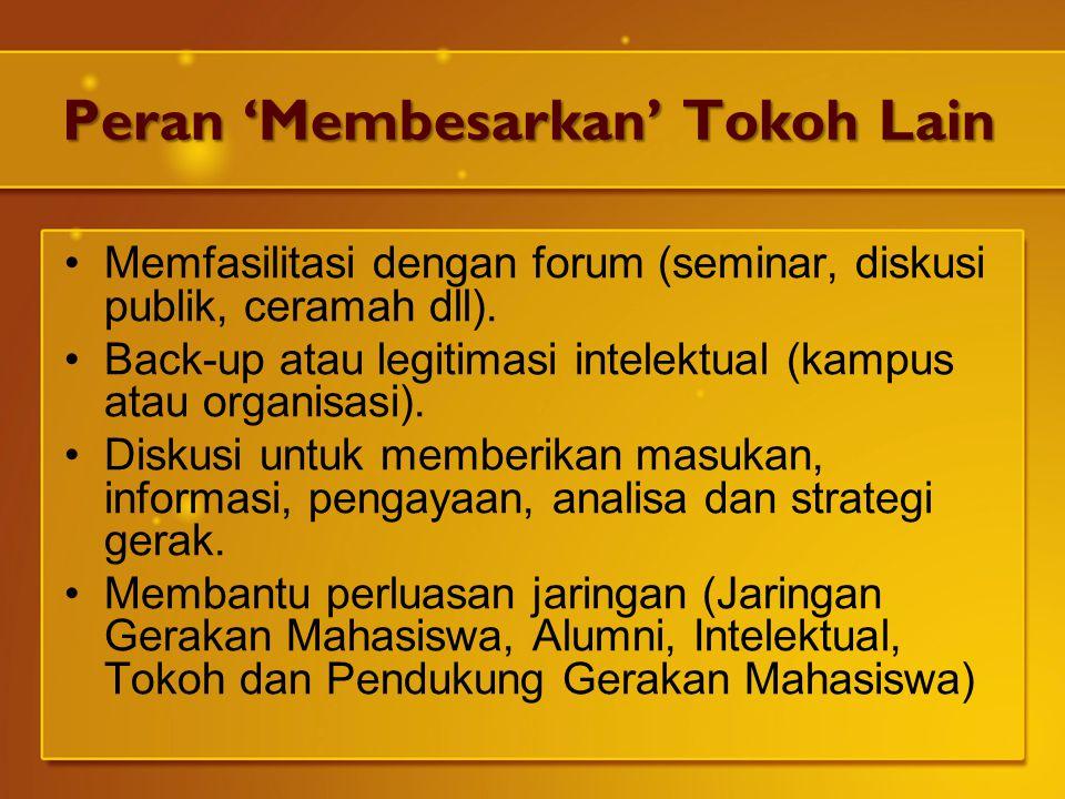 Peran 'Membesarkan' Tokoh Lain Memfasilitasi dengan forum (seminar, diskusi publik, ceramah dll). Back-up atau legitimasi intelektual (kampus atau org