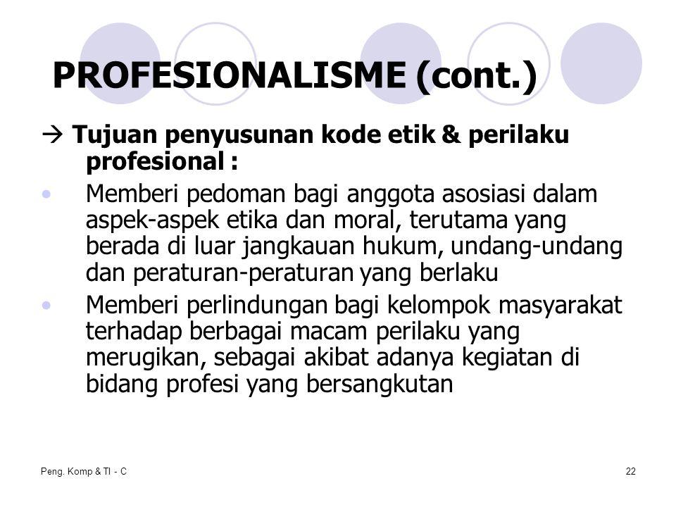 Peng. Komp & TI - C22  Tujuan penyusunan kode etik & perilaku profesional : Memberi pedoman bagi anggota asosiasi dalam aspek-aspek etika dan moral,