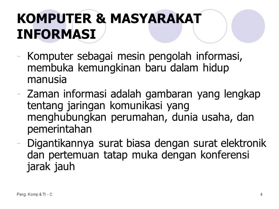 Peng. Komp & TI - C4 KOMPUTER & MASYARAKAT INFORMASI -Komputer sebagai mesin pengolah informasi, membuka kemungkinan baru dalam hidup manusia -Zaman i