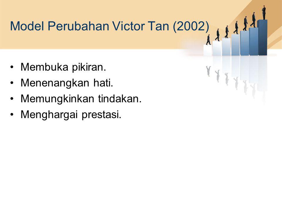 Model Perubahan Victor Tan (2002) Membuka pikiran. Menenangkan hati. Memungkinkan tindakan. Menghargai prestasi.