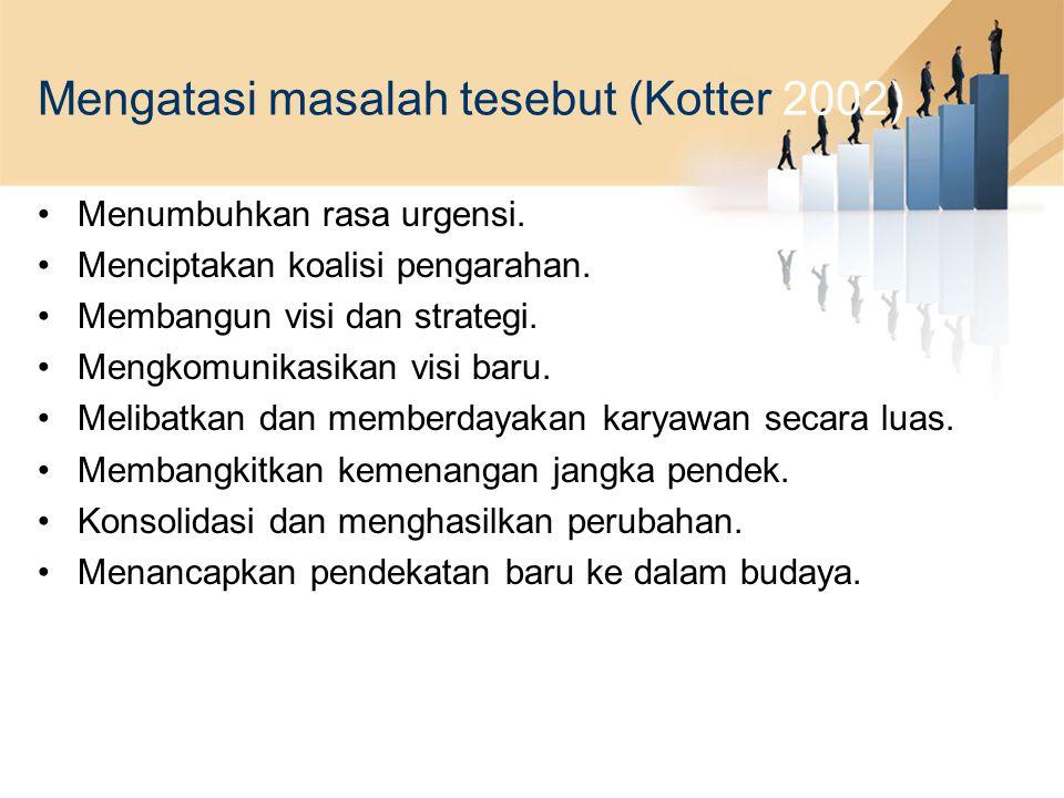 Mengatasi masalah tesebut (Kotter 2002) Menumbuhkan rasa urgensi. Menciptakan koalisi pengarahan. Membangun visi dan strategi. Mengkomunikasikan visi