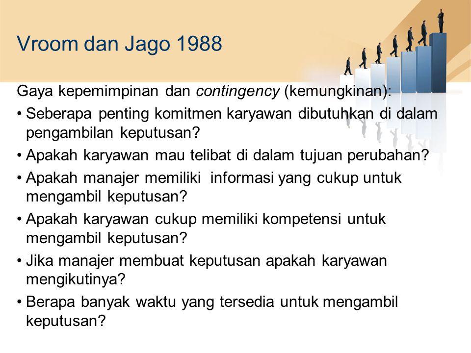 Vroom dan Jago 1988 Gaya kepemimpinan dan contingency (kemungkinan): Seberapa penting komitmen karyawan dibutuhkan di dalam pengambilan keputusan? Apa