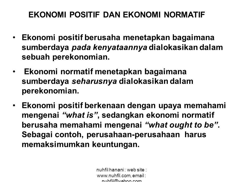 nuhfil hanani : web site : www.nuhfil.com, email : nuhfil@yahoo.com Ekonomi positif berusaha menetapkan bagaimana sumberdaya pada kenyataannya dialoka