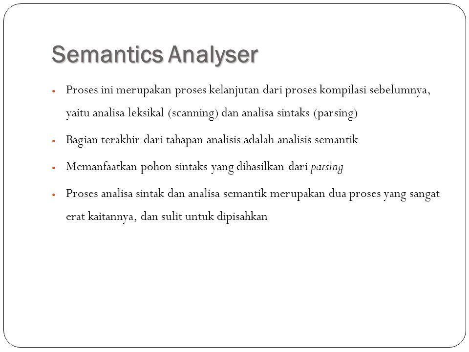 Semantics Analyser Proses ini merupakan proses kelanjutan dari proses kompilasi sebelumnya, yaitu analisa leksikal (scanning) dan analisa sintaks (par