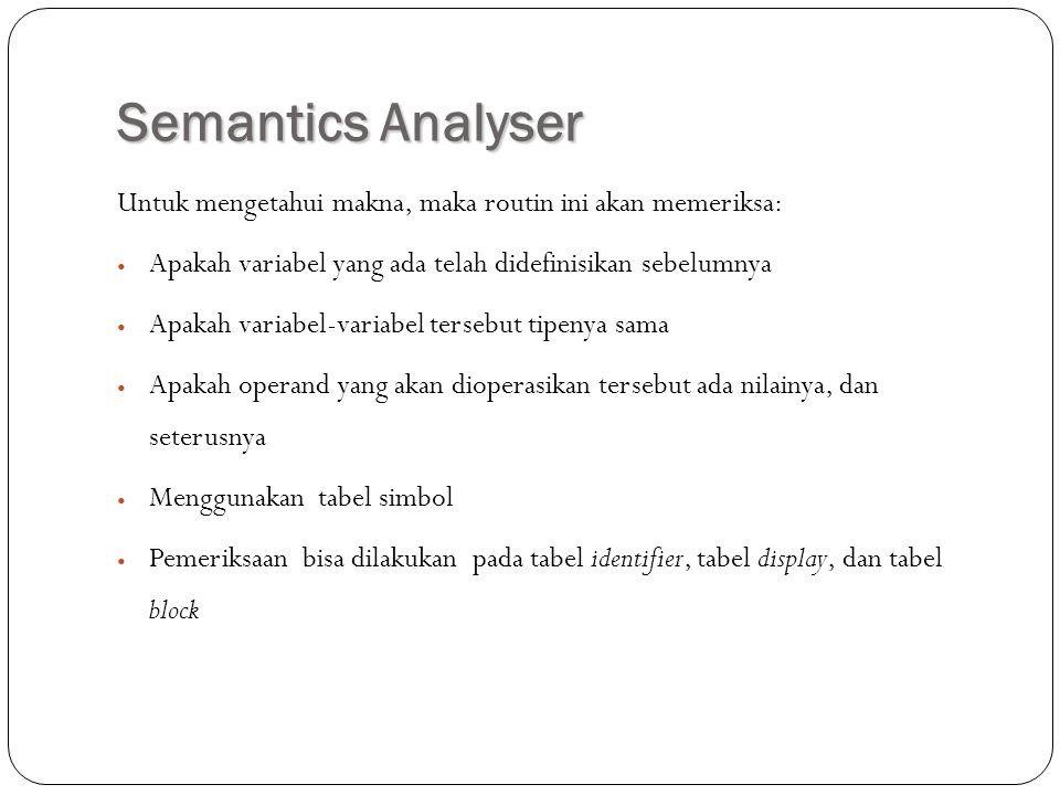 Semantics Analyser Untuk mengetahui makna, maka routin ini akan memeriksa: Apakah variabel yang ada telah didefinisikan sebelumnya Apakah variabel-var