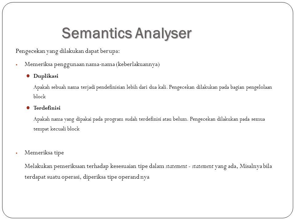 Semantics Analyser Pengecekan yang dilakukan dapat berupa: Memeriksa penggunaan nama-nama (keberlakuannya) Duplikasi Apakah sebuah nama terjadi pendefinisian lebih dari dua kali.