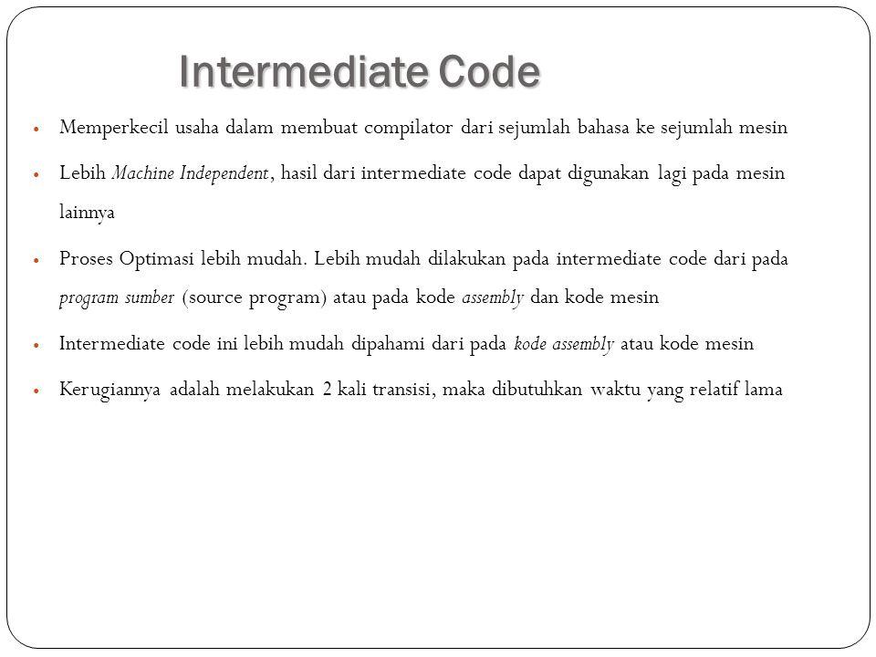 Intermediate Code Memperkecil usaha dalam membuat compilator dari sejumlah bahasa ke sejumlah mesin Lebih Machine Independent, hasil dari intermediate
