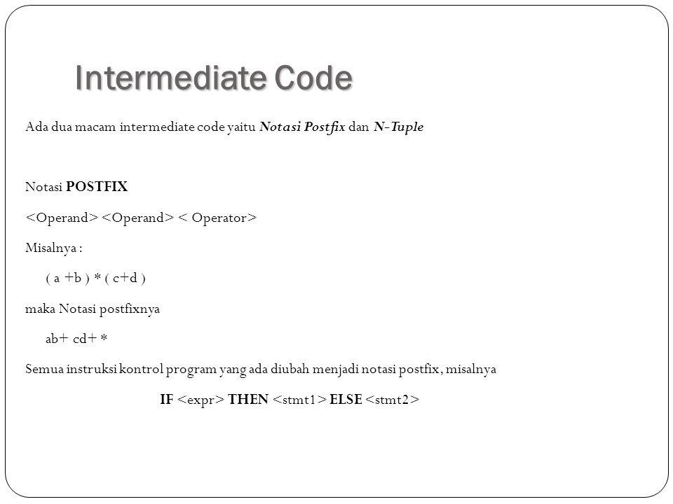Intermediate Code Ada dua macam intermediate code yaitu Notasi Postfix dan N-Tuple Notasi POSTFIX Misalnya : ( a +b ) * ( c+d ) maka Notasi postfixnya