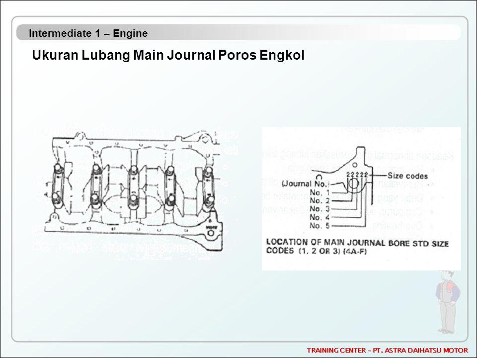 Intermediate 1 – Engine Ukuran Lubang Main Journal Poros Engkol