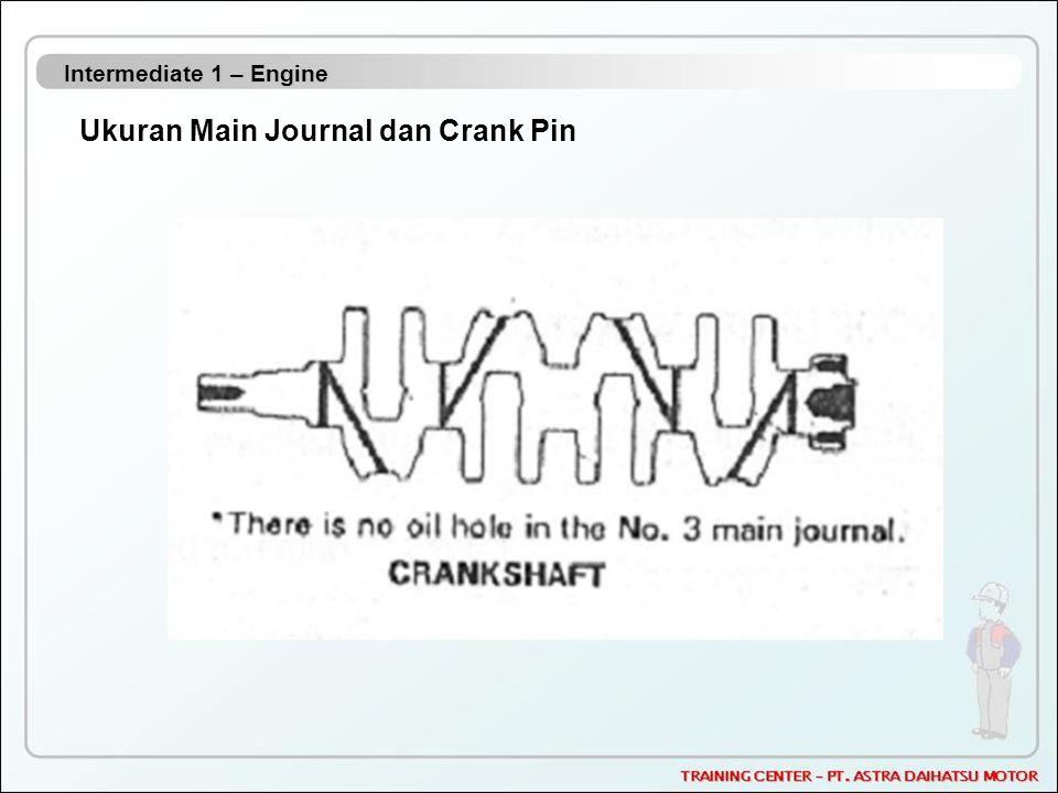 Intermediate 1 – Engine Ukuran Main Journal dan Crank Pin