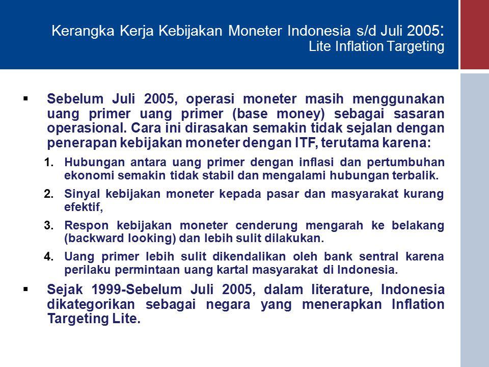 Kerangka Kerja Kebijakan Moneter Indonesia s/d Juli 2005 : Lite Inflation Targeting  Sebelum Juli 2005, operasi moneter masih menggunakan uang primer uang primer (base money) sebagai sasaran operasional.