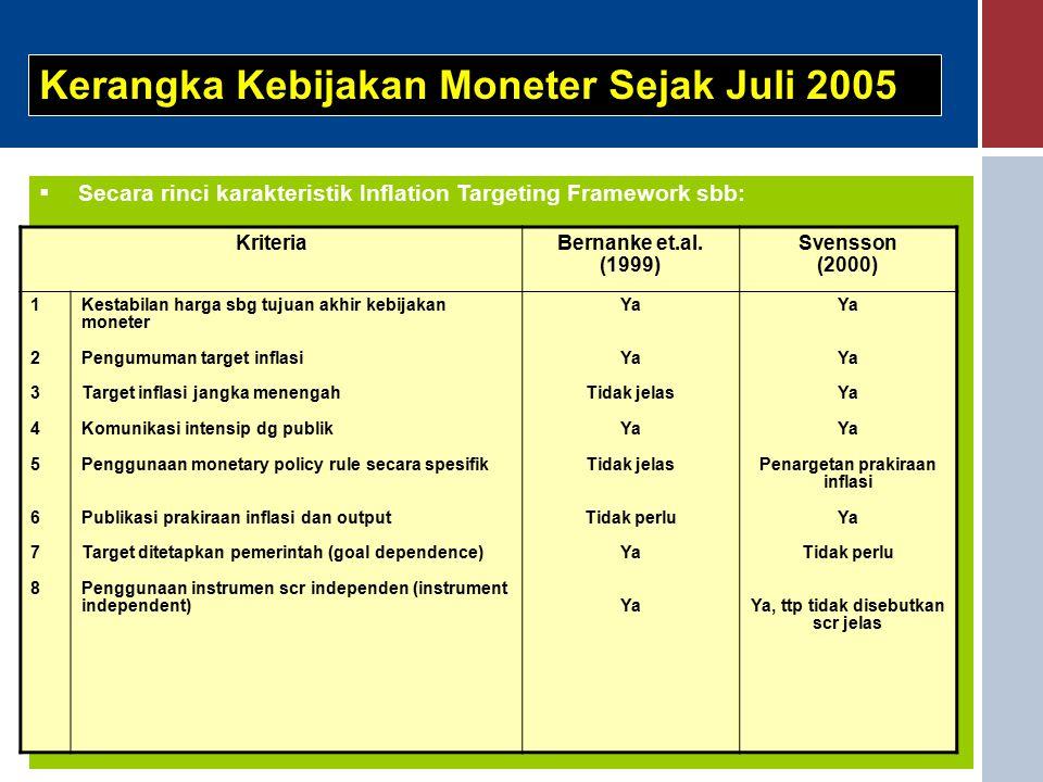  Secara rinci karakteristik Inflation Targeting Framework sbb: Kerangka Kebijakan Moneter Sejak Juli 2005 KriteriaBernanke et.al.