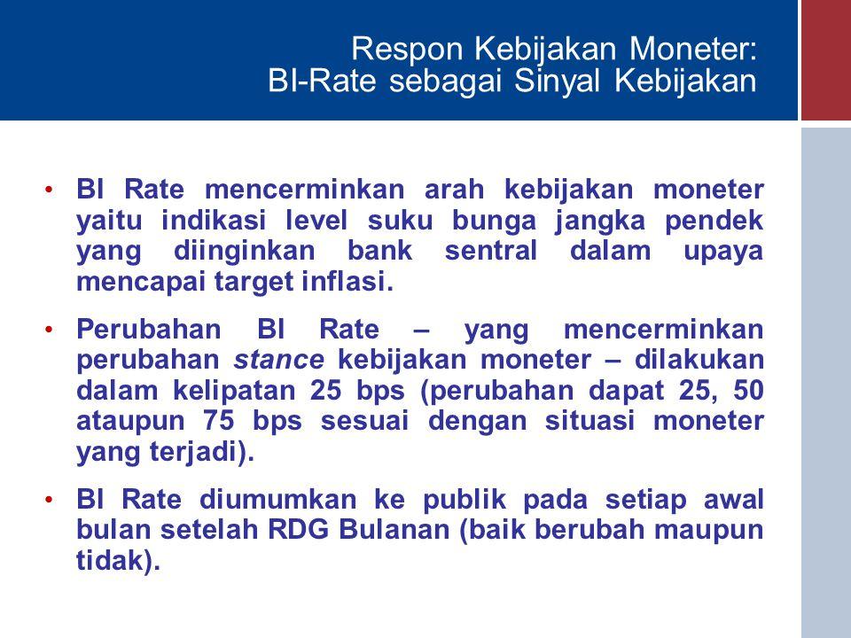 Respon Kebijakan Moneter: BI-Rate sebagai Sinyal Kebijakan BI Rate mencerminkan arah kebijakan moneter yaitu indikasi level suku bunga jangka pendek yang diinginkan bank sentral dalam upaya mencapai target inflasi.