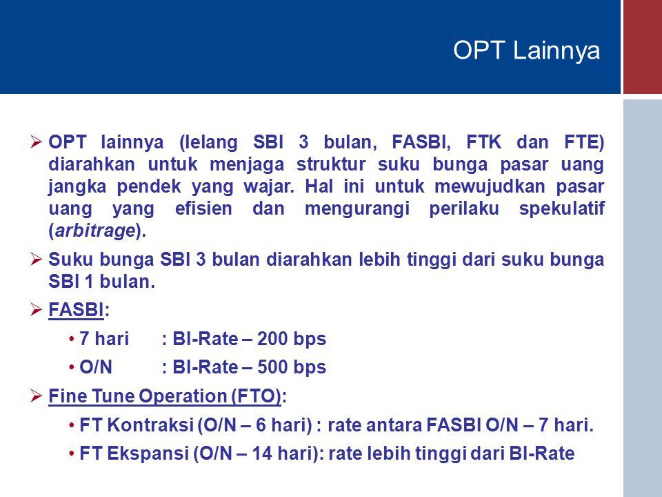 OPT Lainnya  OPT lainnya (lelang SBI 3 bulan, FASBI, FTK dan FTE) diarahkan untuk menjaga struktur suku bunga pasar uang jangka pendek yang wajar.
