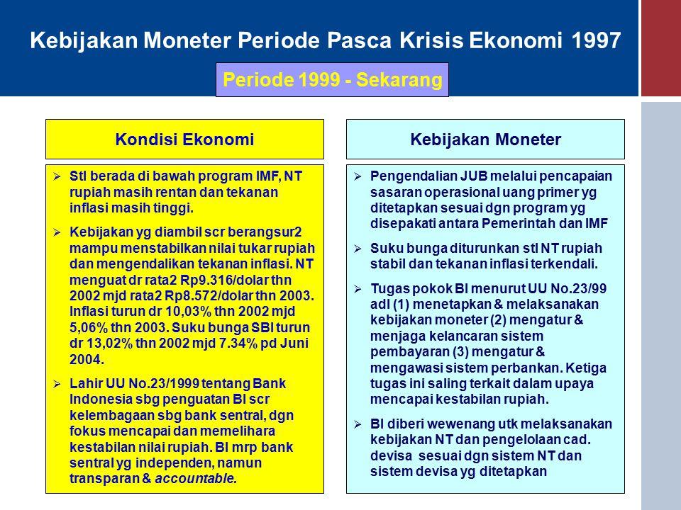 Kebijakan Moneter Periode Pasca Krisis Ekonomi 1997 Kondisi EkonomiKebijakan Moneter  Stl berada di bawah program IMF, NT rupiah masih rentan dan tekanan inflasi masih tinggi.