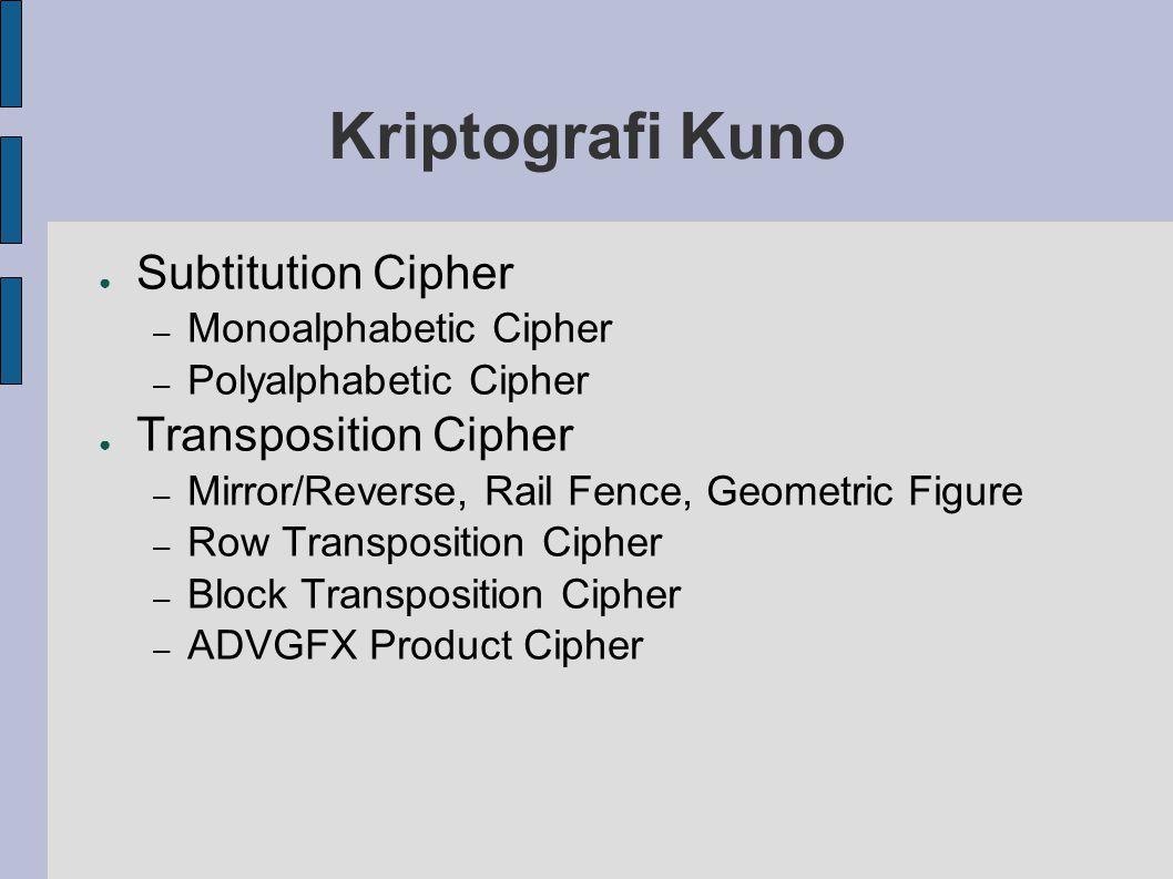 Monoalphabetic Cipher ● Caesar Chiper – L FDPH L VDZ L FRQTXHUHG – I CAME I SAW I CONQUERED ● Mixed Monoalphabetic Cipher – A M I K O M – D C W E H C