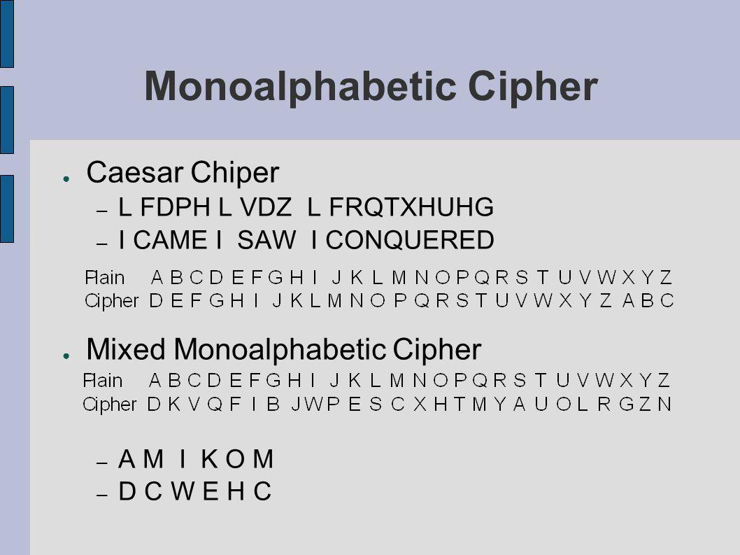 Monoalphabetic Cipher ● Easier Monoalphabetic Cipher – B E R D A S I – M O C K A D S ● Kelemahan : – Frekuensi kemunculan huruf tidak dapat dihilangkan