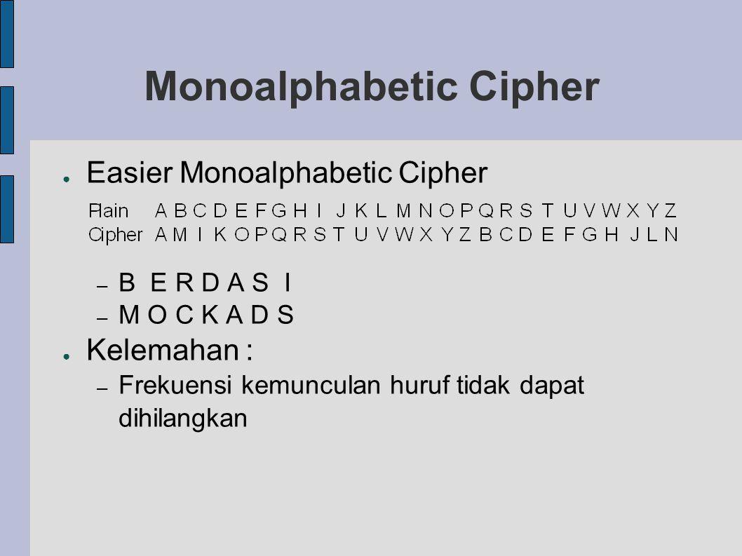 Monoalphabetic Cipher ● Easier Monoalphabetic Cipher – B E R D A S I – M O C K A D S ● Kelemahan : – Frekuensi kemunculan huruf tidak dapat dihilangka