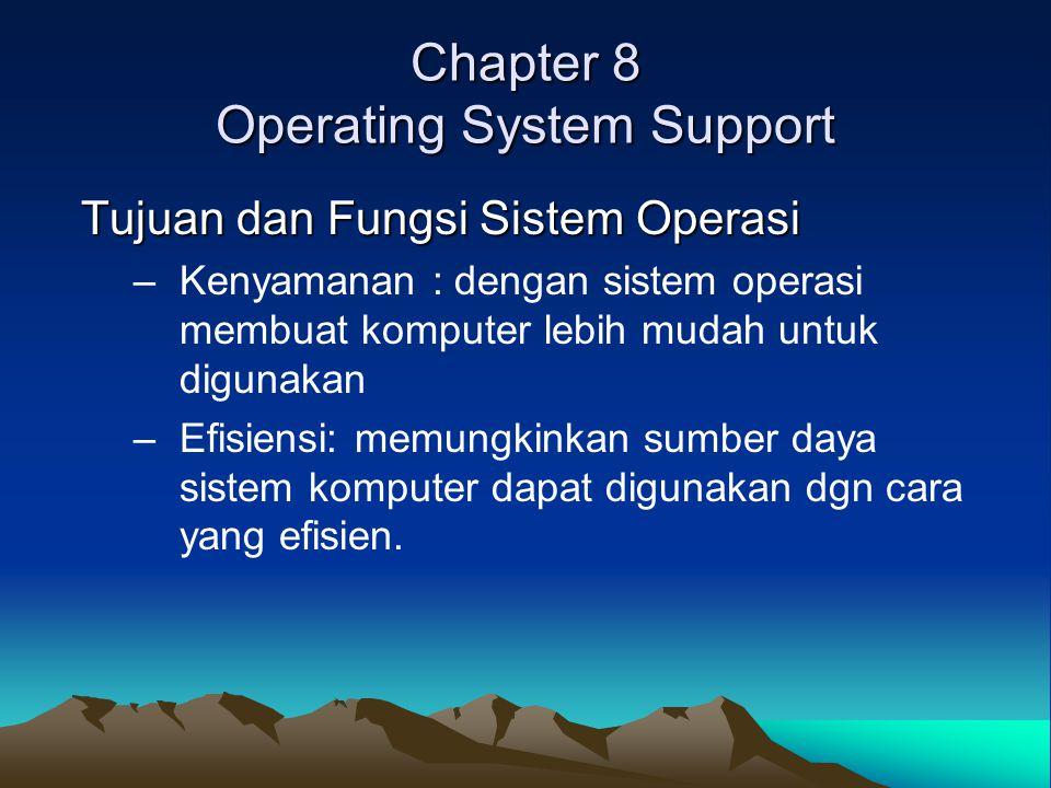 Chapter 8 Operating System Support Tujuan dan Fungsi Sistem Operasi –Kenyamanan : dengan sistem operasi membuat komputer lebih mudah untuk digunakan –