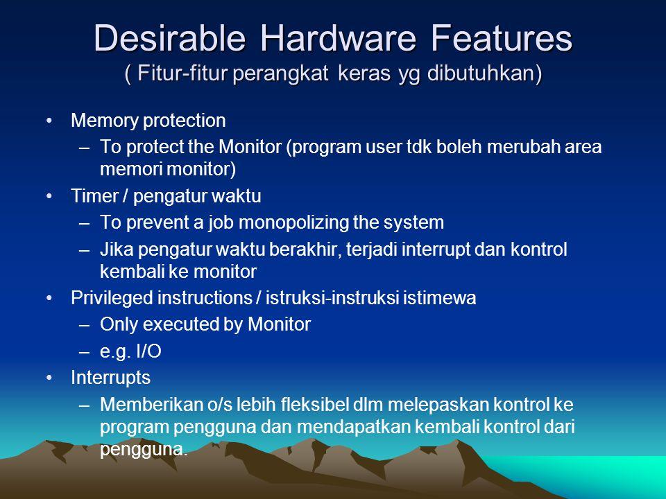 Desirable Hardware Features ( Fitur-fitur perangkat keras yg dibutuhkan) Memory protection –To protect the Monitor (program user tdk boleh merubah are
