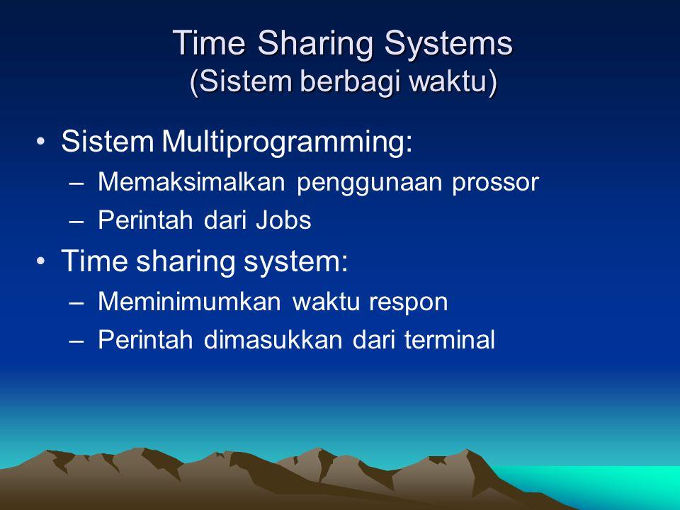 Time Sharing Systems (Sistem berbagi waktu) Sistem Multiprogramming: – Memaksimalkan penggunaan prossor – Perintah dari Jobs Time sharing system: – Me
