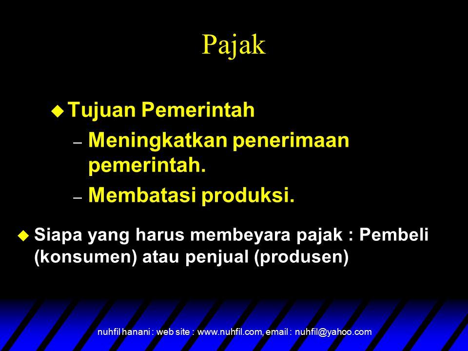 nuhfil hanani : web site : www.nuhfil.com, email : nuhfil@yahoo.com Pajak  Tujuan Pemerintah – Meningkatkan penerimaan pemerintah. – Membatasi produk