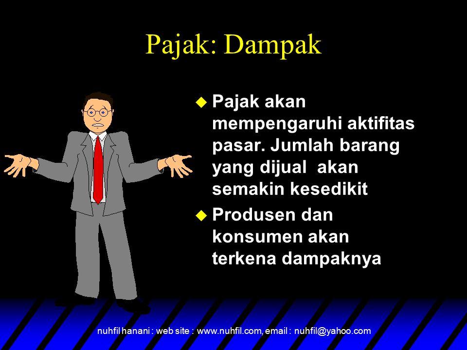 nuhfil hanani : web site : www.nuhfil.com, email : nuhfil@yahoo.com Pajak: Dampak  Pajak akan mempengaruhi aktifitas pasar. Jumlah barang yang dijual