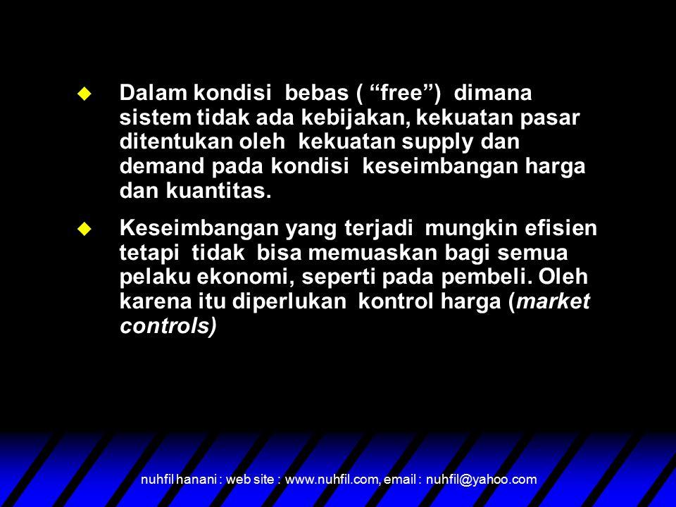 """nuhfil hanani : web site : www.nuhfil.com, email : nuhfil@yahoo.com u Dalam kondisi bebas ( """"free"""") dimana sistem tidak ada kebijakan, kekuatan pasar"""