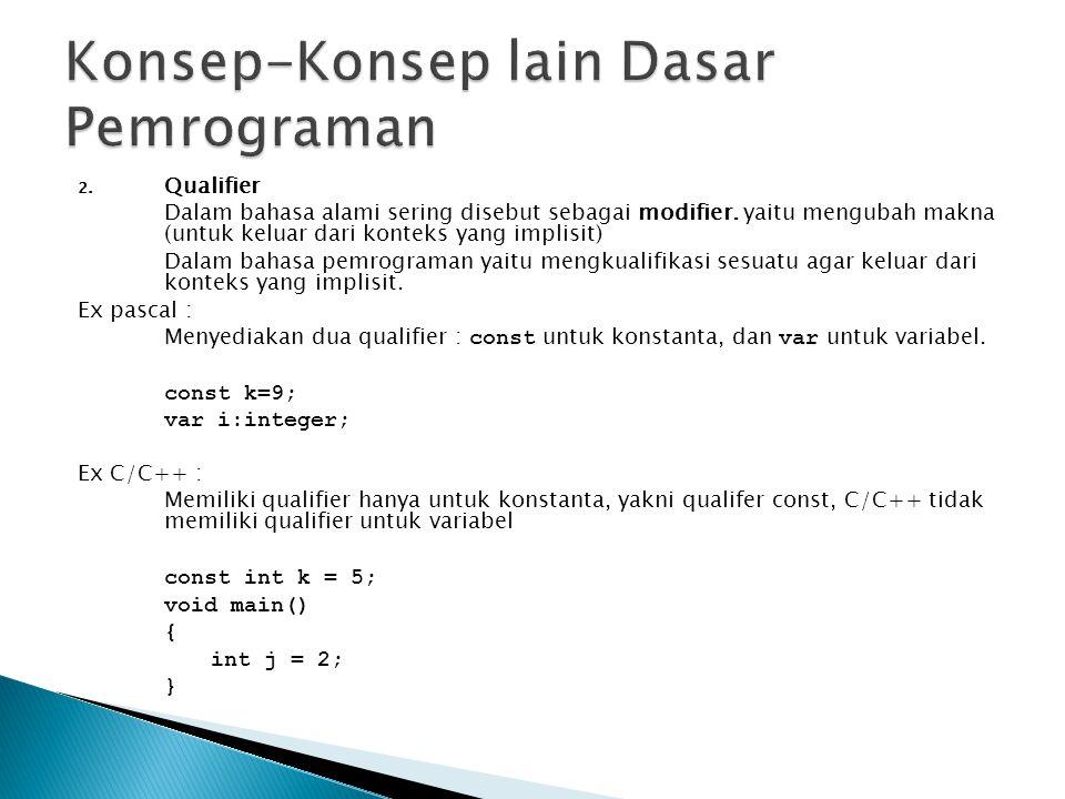 2. Qualifier Dalam bahasa alami sering disebut sebagai modifier. yaitu mengubah makna (untuk keluar dari konteks yang implisit) Dalam bahasa pemrogram