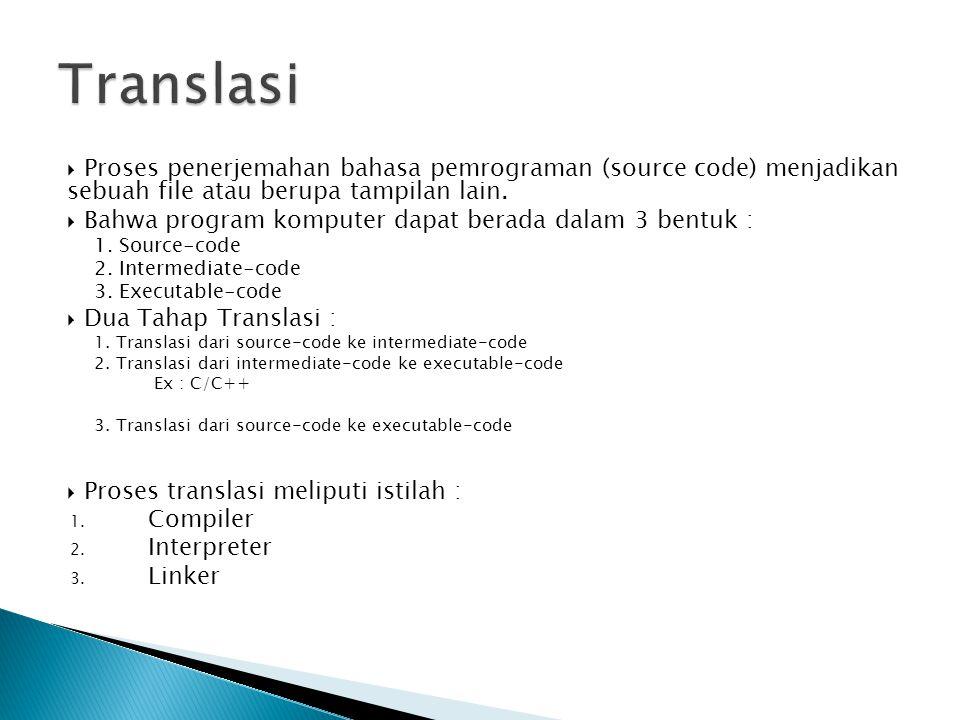  Proses penerjemahan bahasa pemrograman (source code) menjadikan sebuah file atau berupa tampilan lain.  Bahwa program komputer dapat berada dalam 3