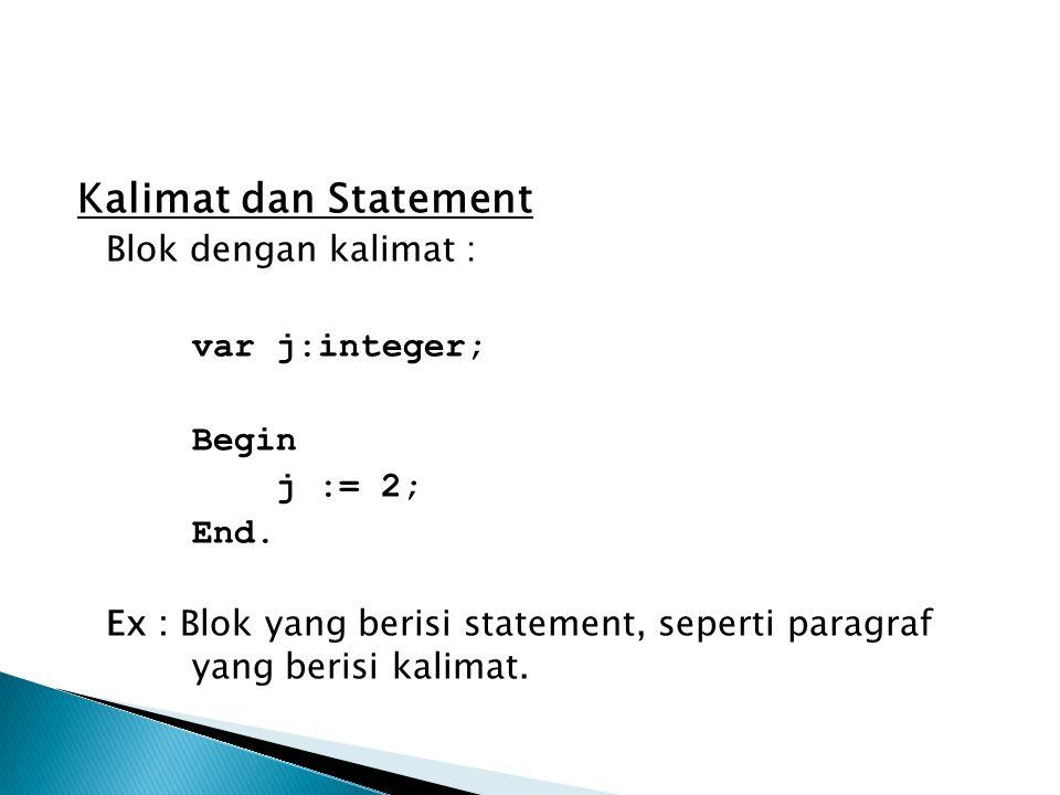Kalimat dan Statement Blok dengan kalimat : var j:integer; Begin j := 2; End. Ex : Blok yang berisi statement, seperti paragraf yang berisi kalimat.