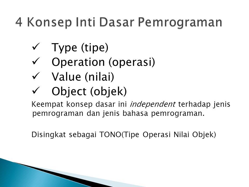Type (tipe) Operation (operasi) Value (nilai) Object (objek) Keempat konsep dasar ini independent terhadap jenis pemrograman dan jenis bahasa pemrogra