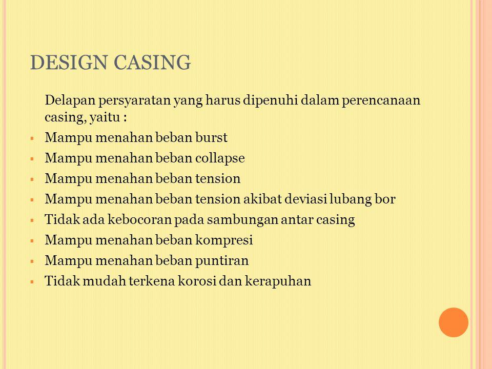DESIGN CASING Delapan persyaratan yang harus dipenuhi dalam perencanaan casing, yaitu :  Mampu menahan beban burst  Mampu menahan beban collapse  M