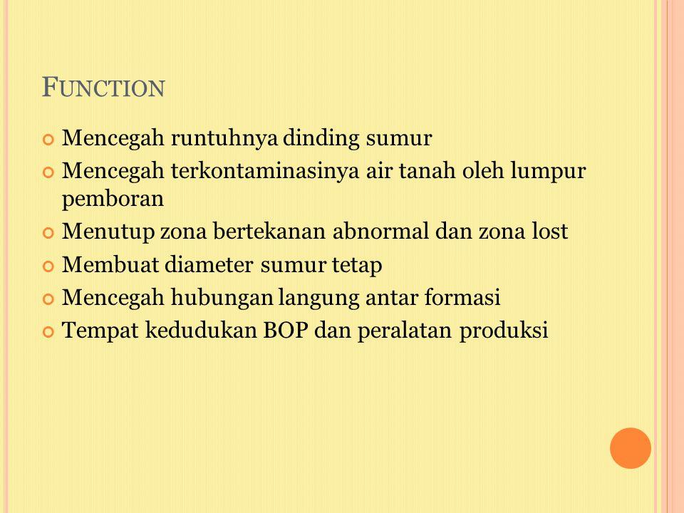 F UNCTION Mencegah runtuhnya dinding sumur Mencegah terkontaminasinya air tanah oleh lumpur pemboran Menutup zona bertekanan abnormal dan zona lost Me