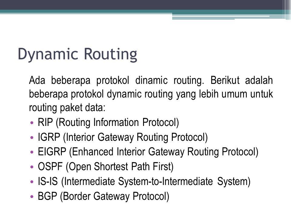 Dynamic Routing Ada beberapa protokol dinamic routing. Berikut adalah beberapa protokol dynamic routing yang lebih umum untuk routing paket data: RIP