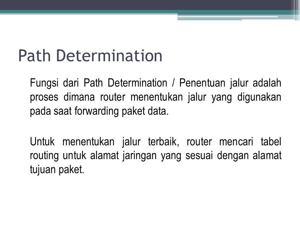 Path Determination Fungsi dari Path Determination / Penentuan jalur adalah proses dimana router menentukan jalur yang digunakan pada saat forwarding p