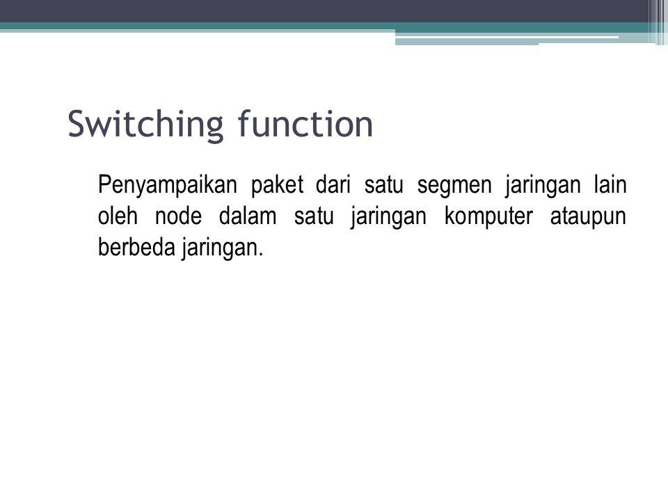 Switching function Penyampaikan paket dari satu segmen jaringan lain oleh node dalam satu jaringan komputer ataupun berbeda jaringan.