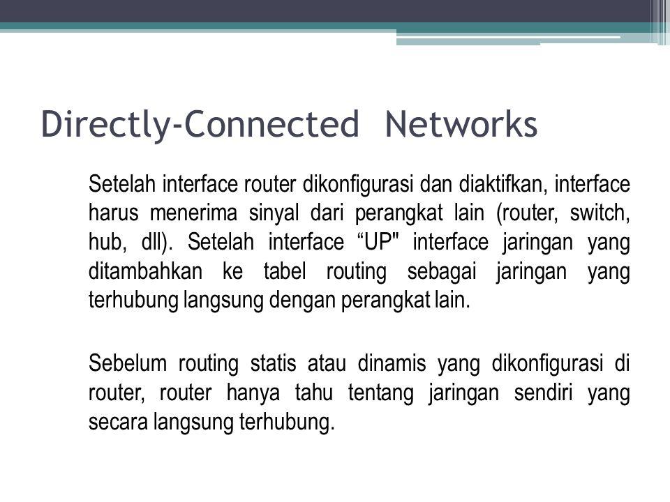 Directly-Connected Networks Router tidak dapat mengirimkan paket data, jika interface tidak diaktifkan dengan alamat dan subnet mask, sama seperti PC tidak dapat mengirim paket IP ke Interface Ethernet jika tidak dikonfigurasi dengan alamat IP dan subnet mask.