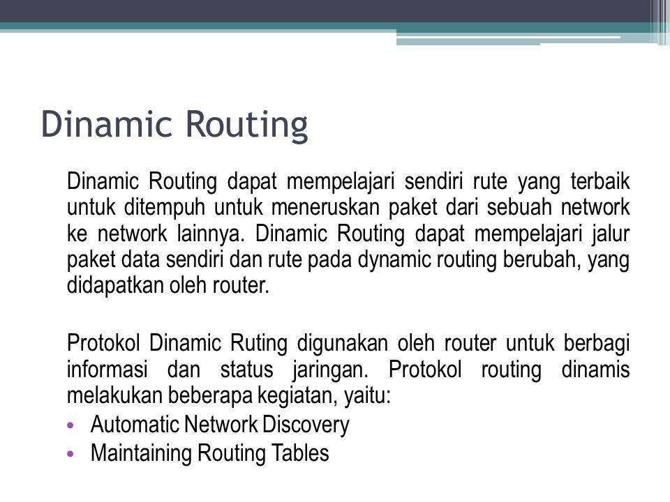 Dinamic Routing Dinamic Routing dapat mempelajari sendiri rute yang terbaik untuk ditempuh untuk meneruskan paket dari sebuah network ke network lainn