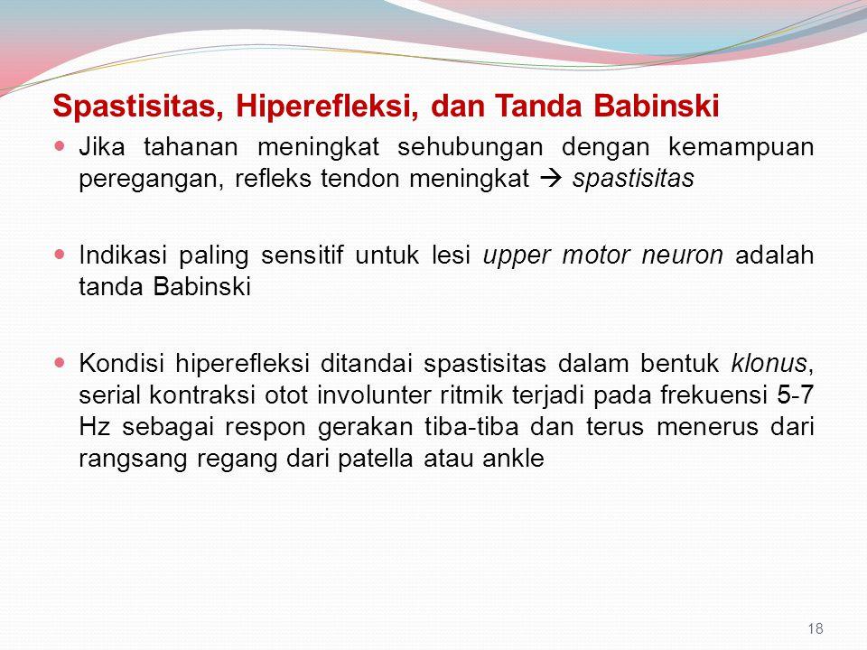 Spastisitas, Hiperefleksi, dan Tanda Babinski Jika tahanan meningkat sehubungan dengan kemampuan peregangan, refleks tendon meningkat  spastisitas In