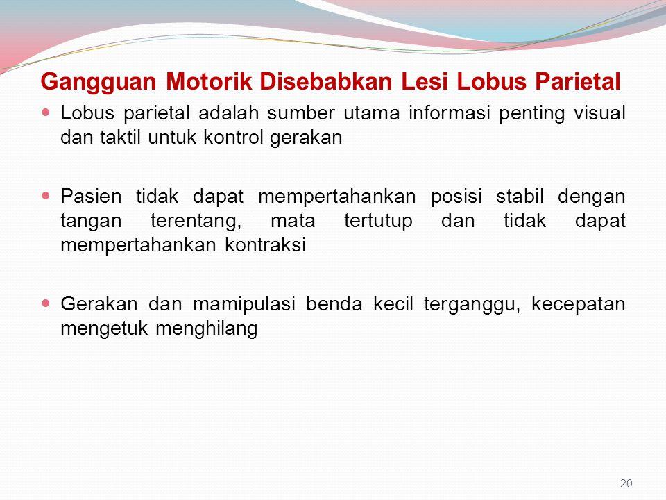 Gangguan Motorik Disebabkan Lesi Lobus Parietal Lobus parietal adalah sumber utama informasi penting visual dan taktil untuk kontrol gerakan Pasien ti