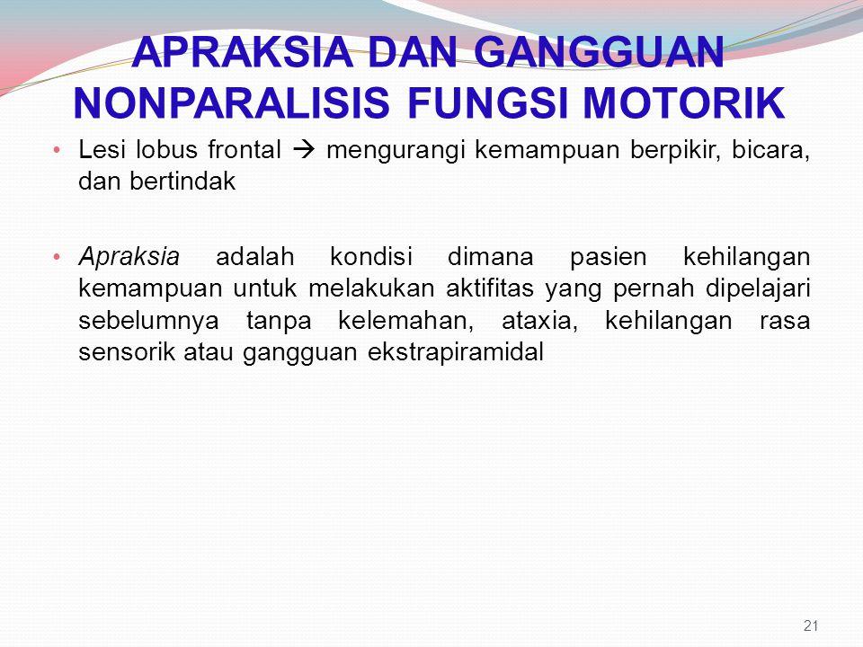 APRAKSIA DAN GANGGUAN NONPARALISIS FUNGSI MOTORIK Lesi lobus frontal  mengurangi kemampuan berpikir, bicara, dan bertindak Apraksia adalah kondisi di